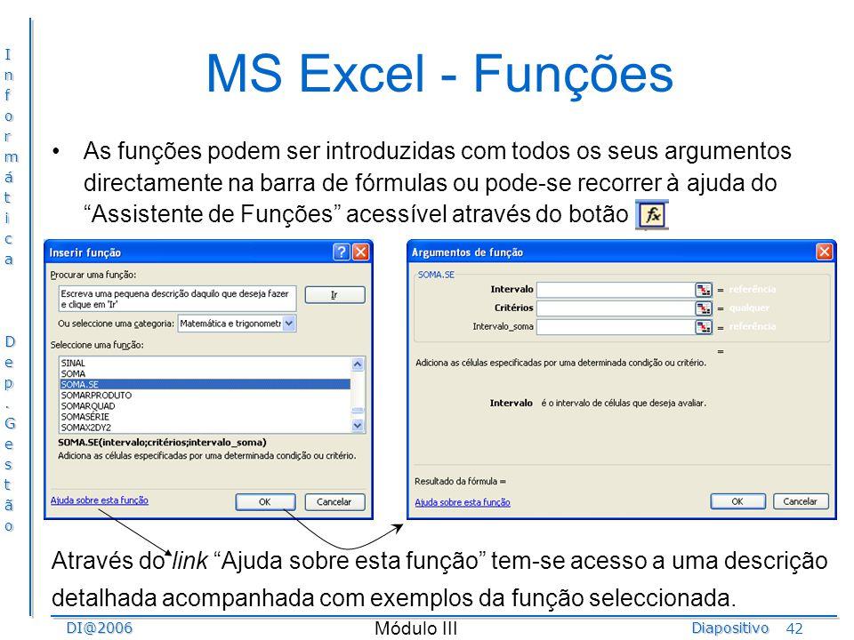 MS Excel - Funções
