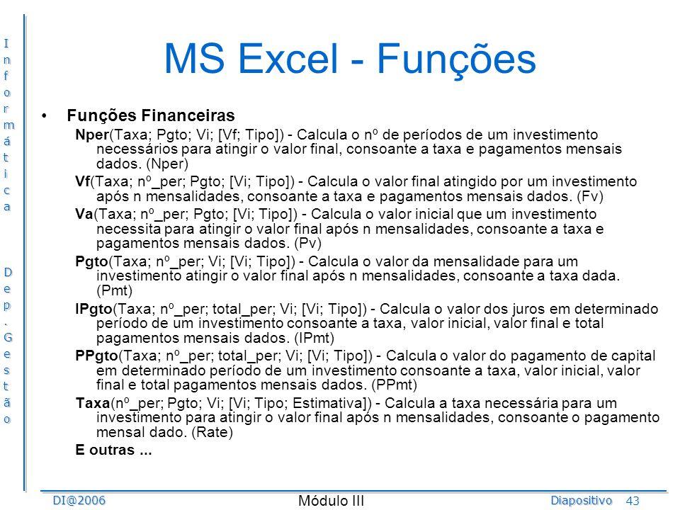 MS Excel - Funções Funções Financeiras