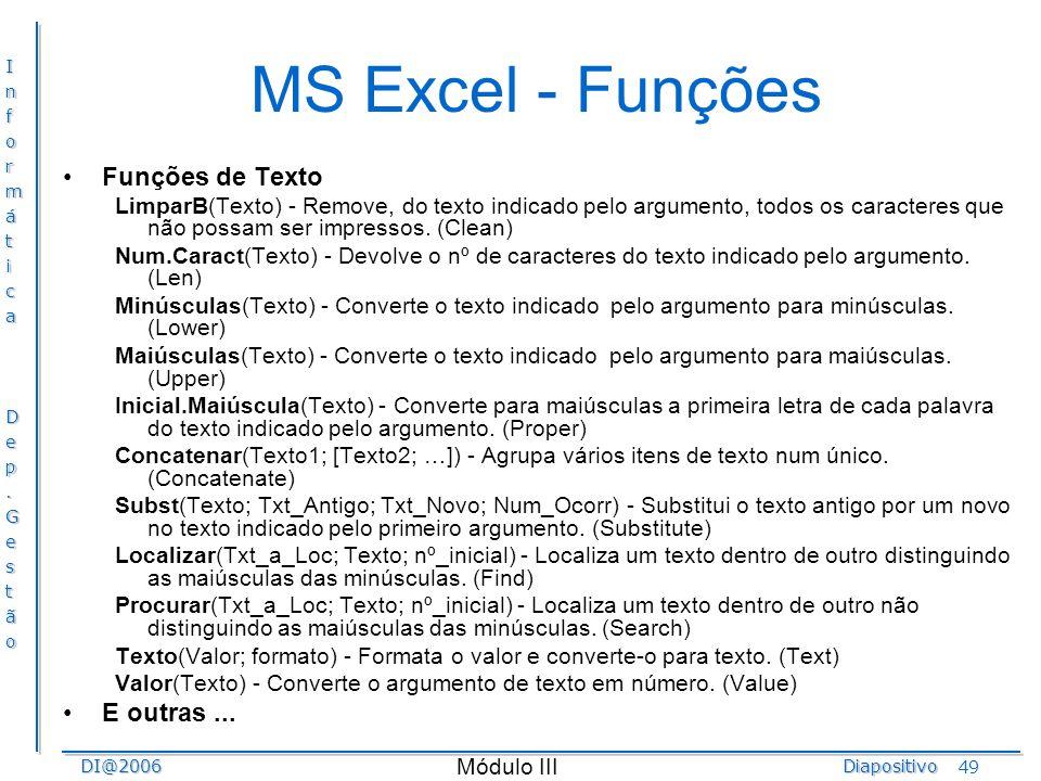 MS Excel - Funções Funções de Texto E outras ...
