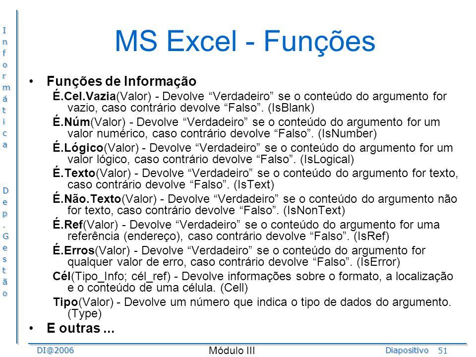 MS Excel - Funções Funções de Informação E outras ...