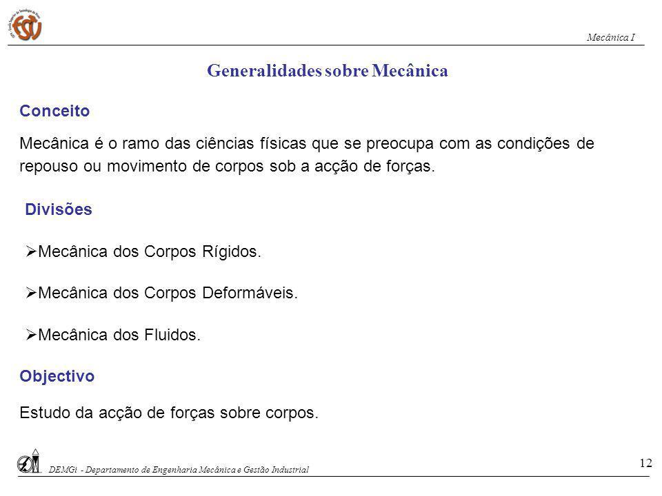 Generalidades sobre Mecânica
