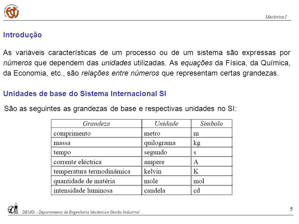 São as seguintes as grandezas de base e respectivas unidades no SI: