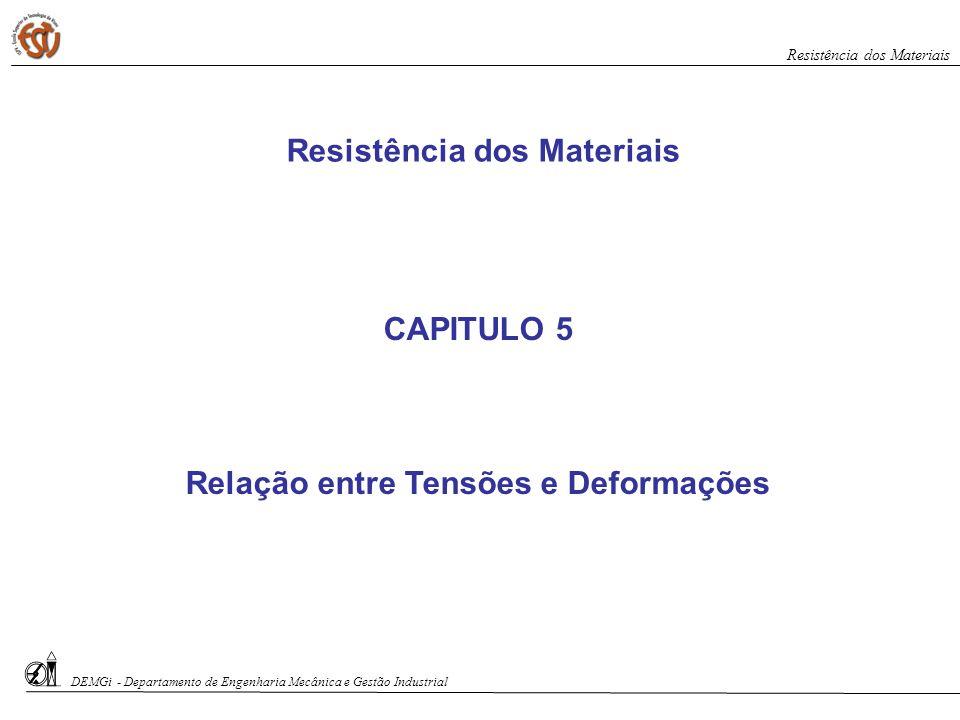 Resistência dos Materiais Relação entre Tensões e Deformações