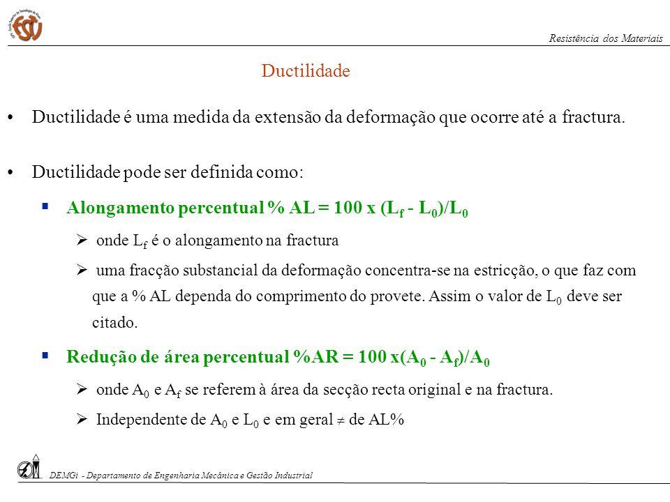 Alongamento percentual % AL = 100 x (Lf - L0)/L0