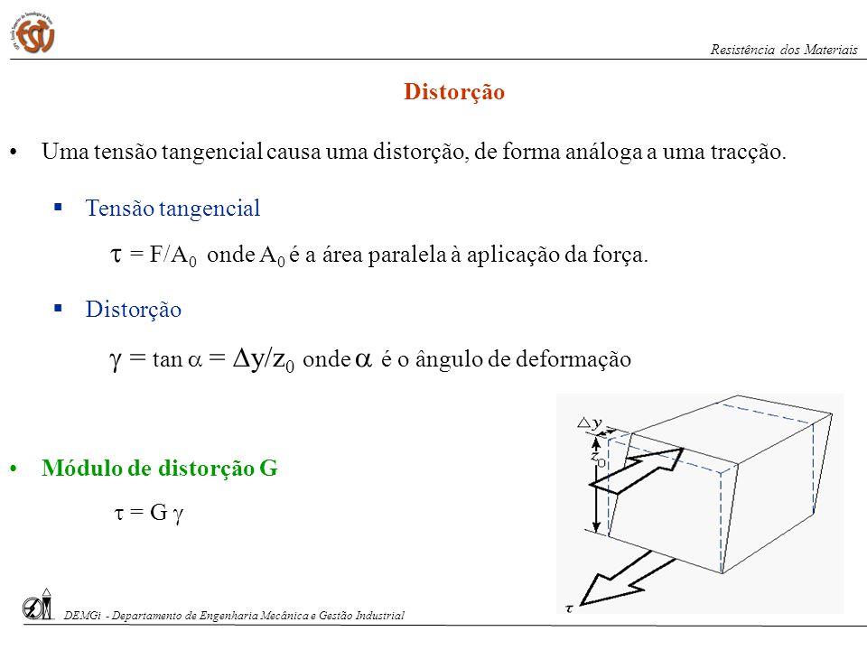  = F/A0 onde A0 é a área paralela à aplicação da força.
