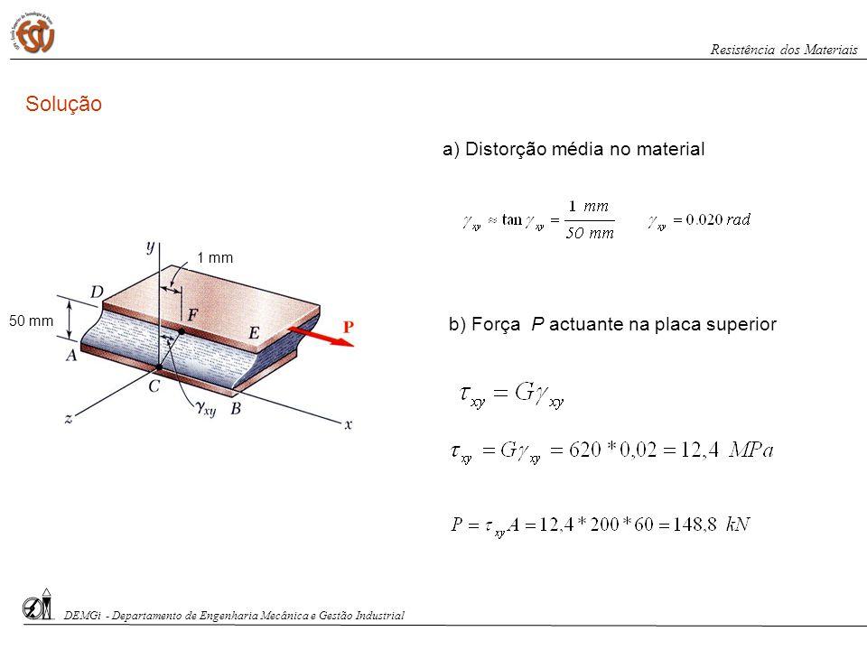 Solução a) Distorção média no material