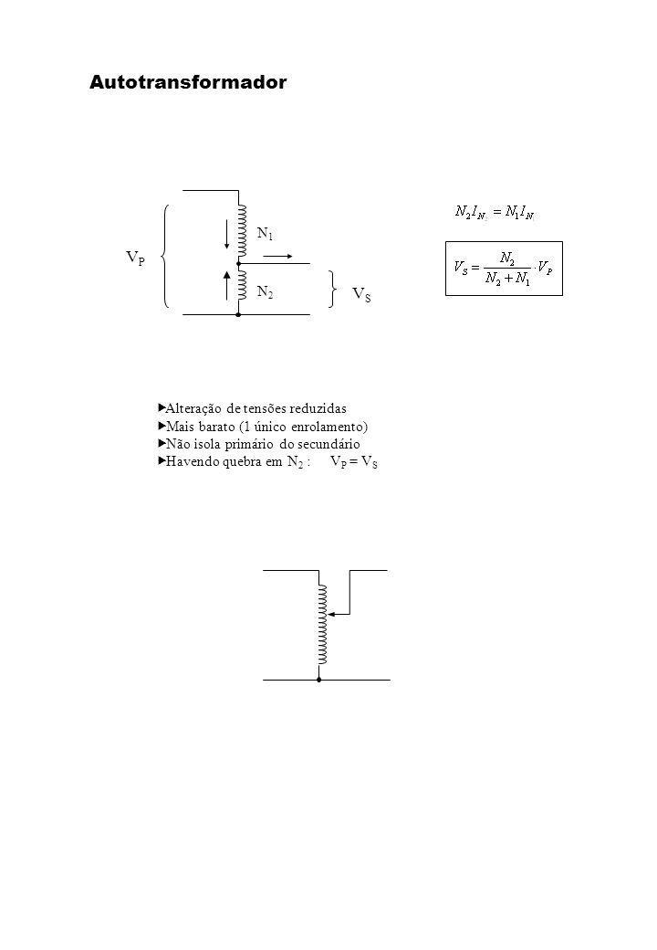 Autotransformador VP VS N1 N2 Alteração de tensões reduzidas