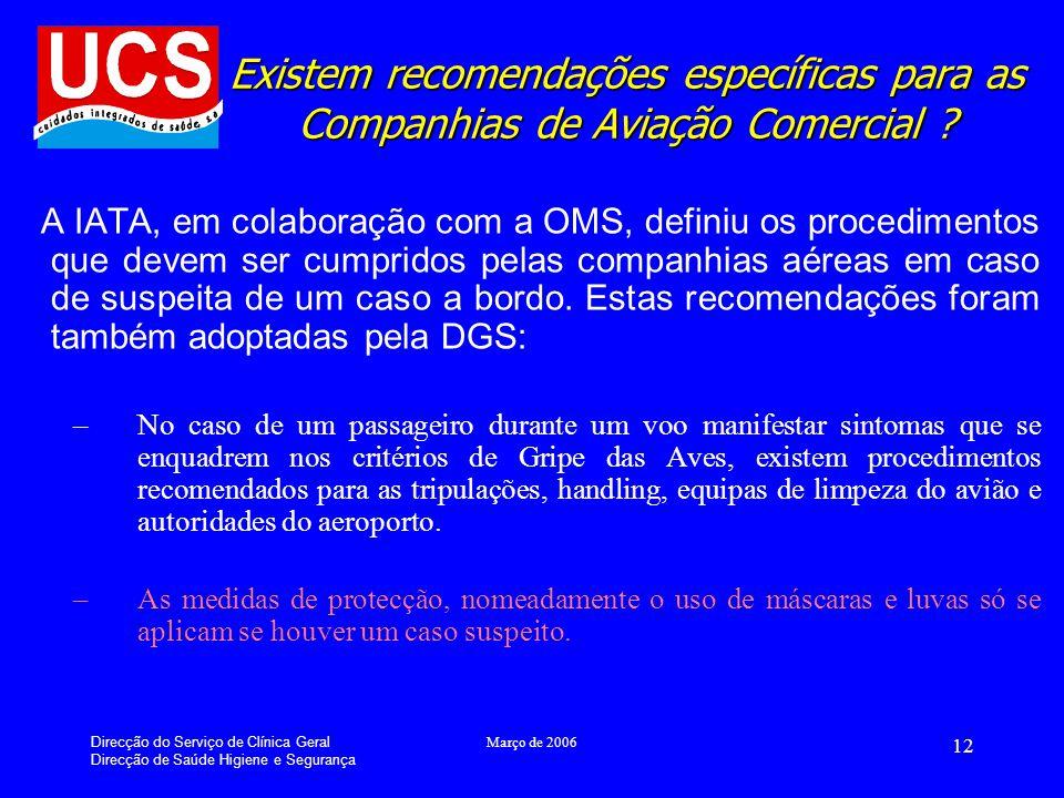 Existem recomendações específicas para as Companhias de Aviação Comercial