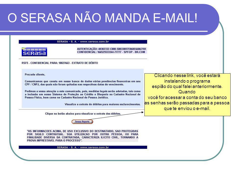 O SERASA NÃO MANDA E-MAIL!