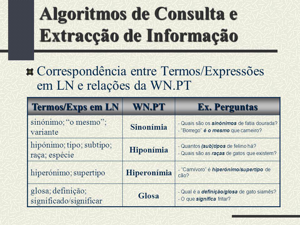 Algoritmos de Consulta e Extracção de Informação