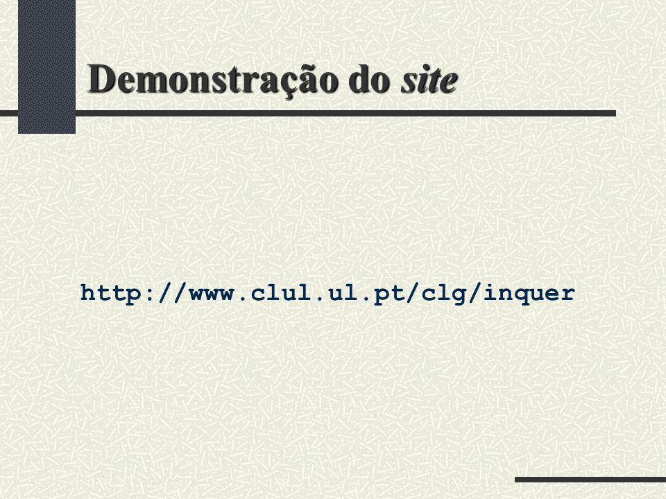 Demonstração do site http://www.clul.ul.pt/clg/inquer