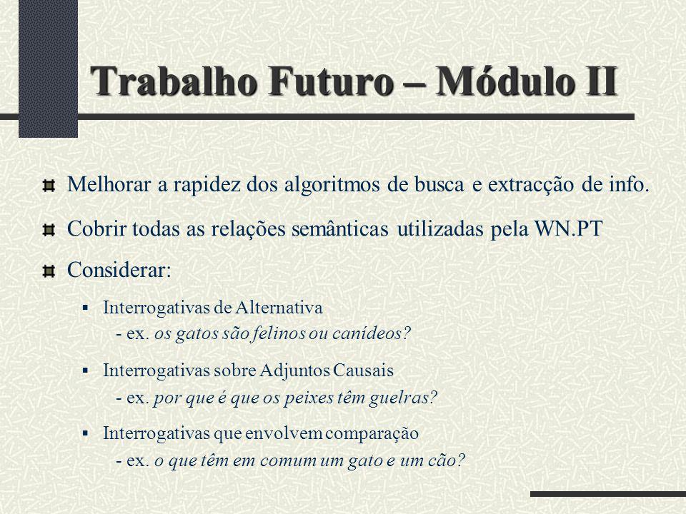 Trabalho Futuro – Módulo II