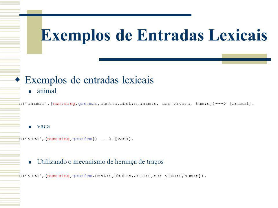 Exemplos de Entradas Lexicais