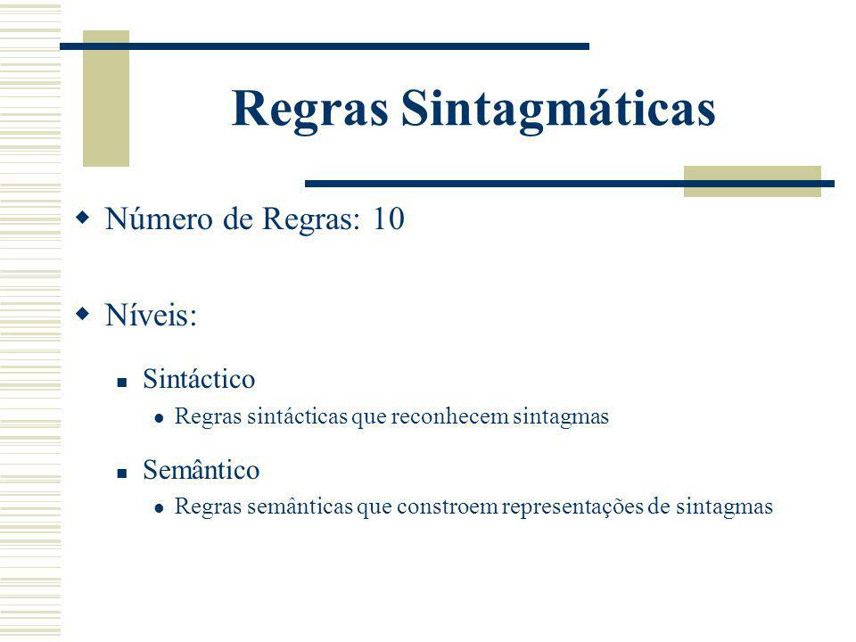 Regras Sintagmáticas Número de Regras: 10 Níveis: Sintáctico Semântico