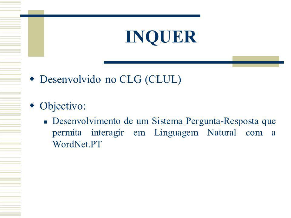 INQUER Desenvolvido no CLG (CLUL) Objectivo: