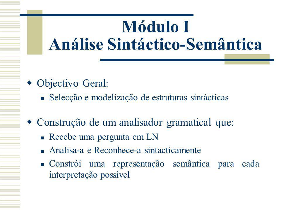 Módulo I Análise Sintáctico-Semântica