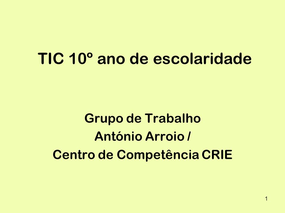 TIC 10º ano de escolaridade