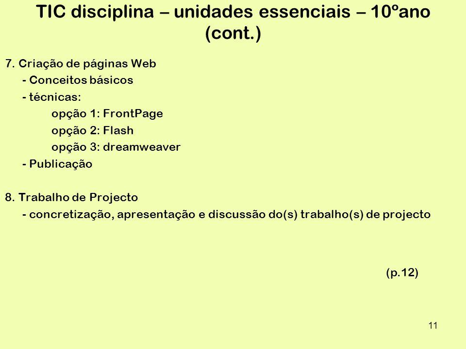 TIC disciplina – unidades essenciais – 10ºano (cont.)