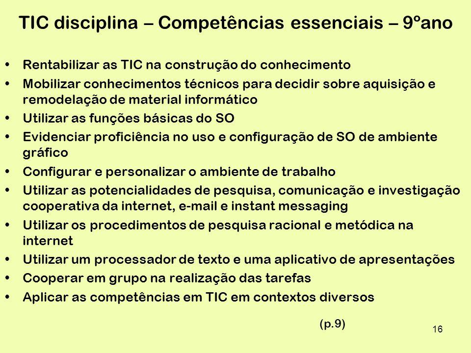 TIC disciplina – Competências essenciais – 9ºano