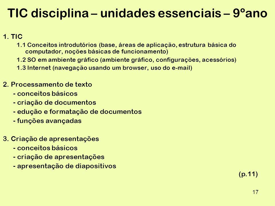 TIC disciplina – unidades essenciais – 9ºano
