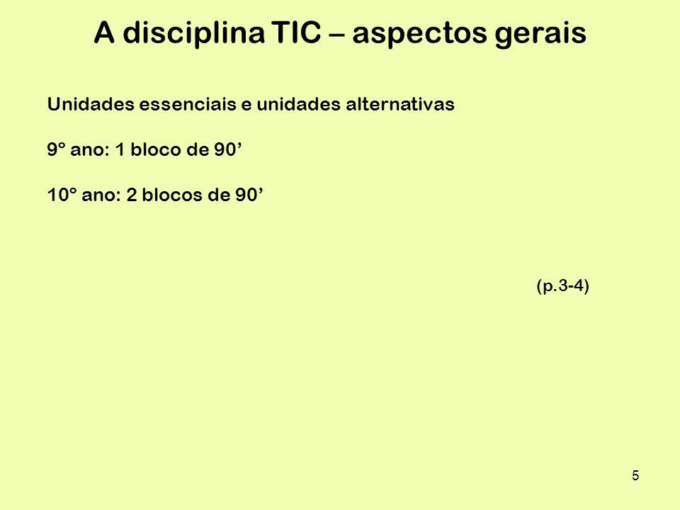 A disciplina TIC – aspectos gerais
