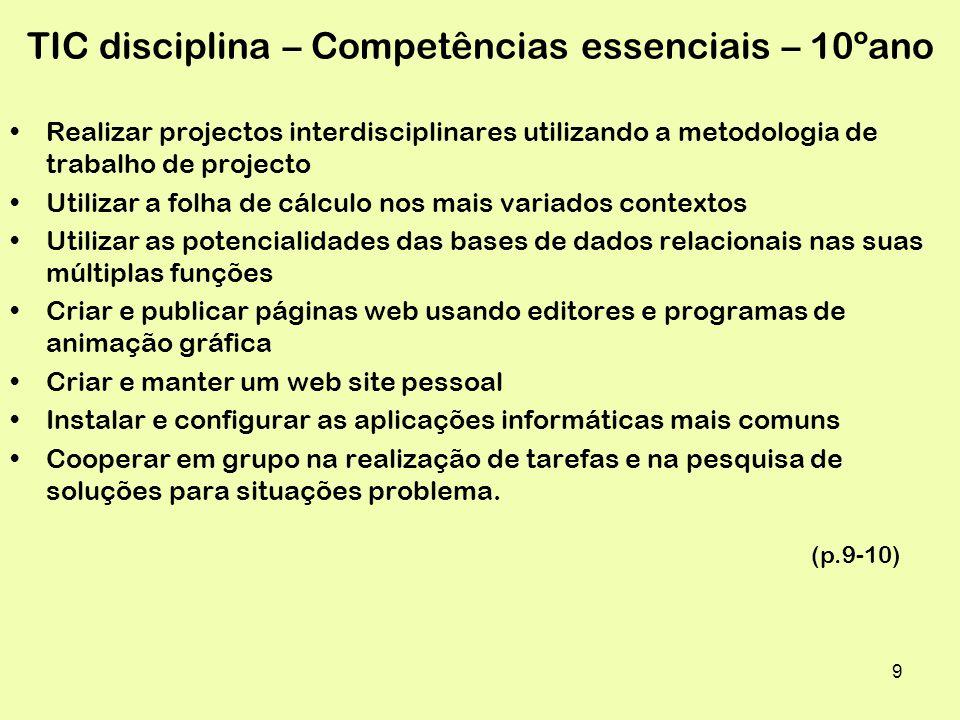 TIC disciplina – Competências essenciais – 10ºano