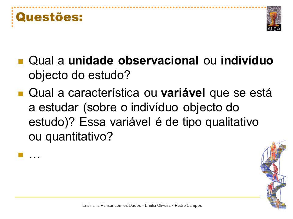 Questões: Qual a unidade observacional ou indivíduo objecto do estudo