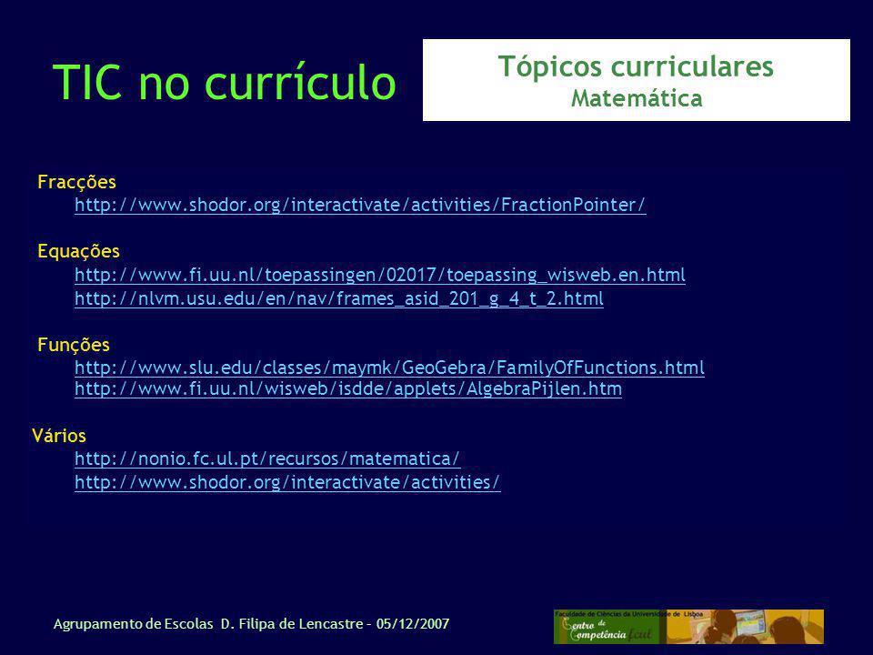 Tópicos curriculares Matemática