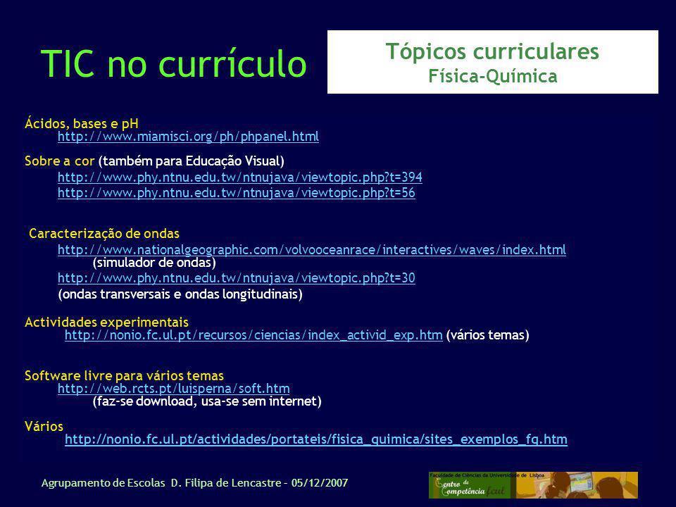 Tópicos curriculares Física-Química