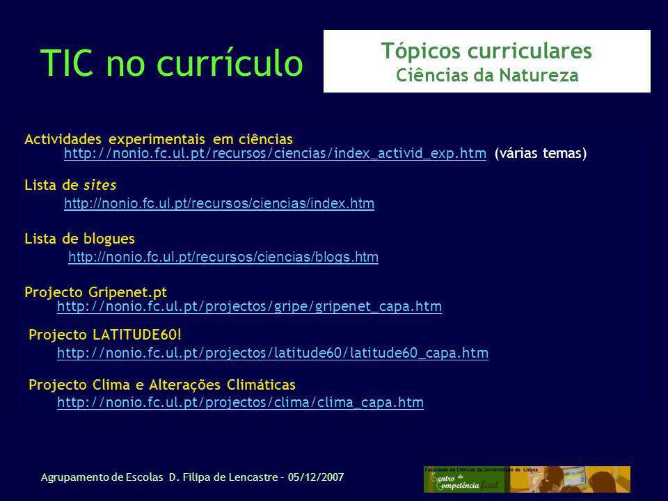 Tópicos curriculares Ciências da Natureza