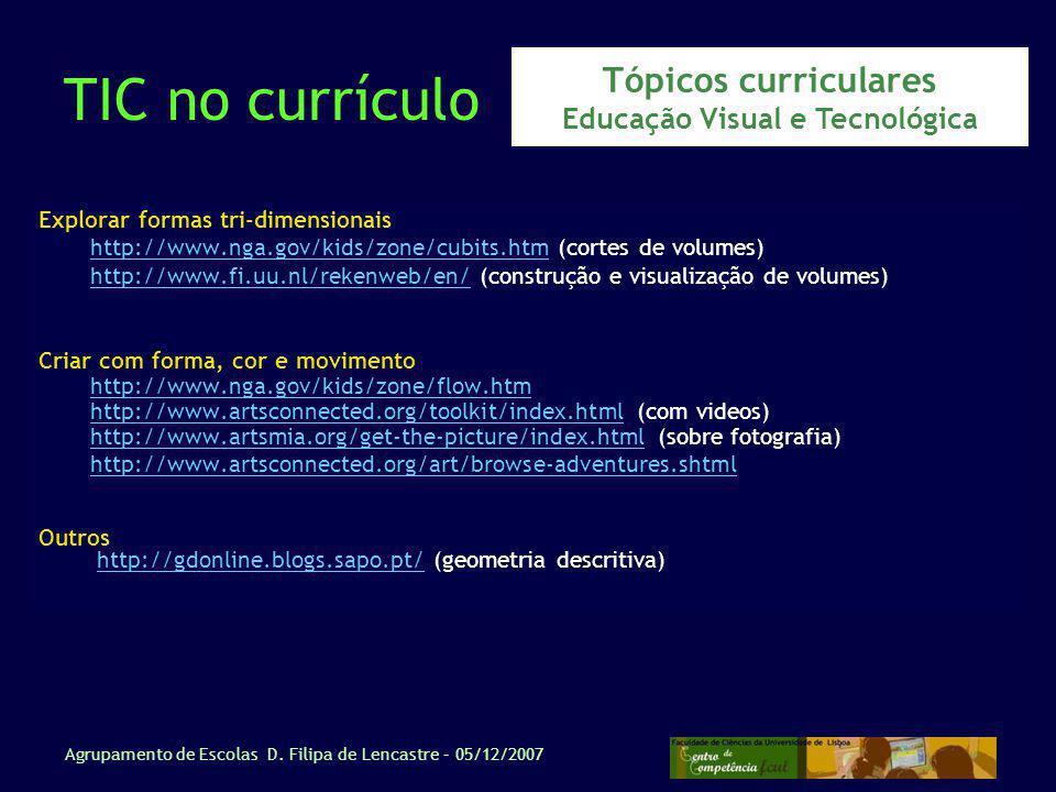 Tópicos curriculares Educação Visual e Tecnológica