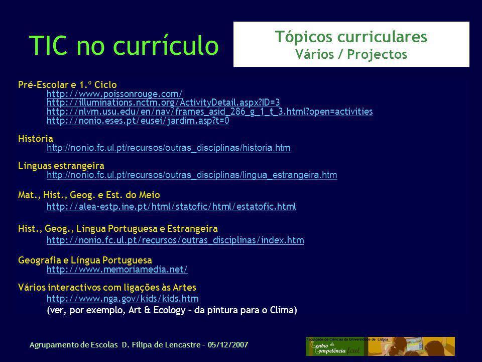 Tópicos curriculares Vários / Projectos