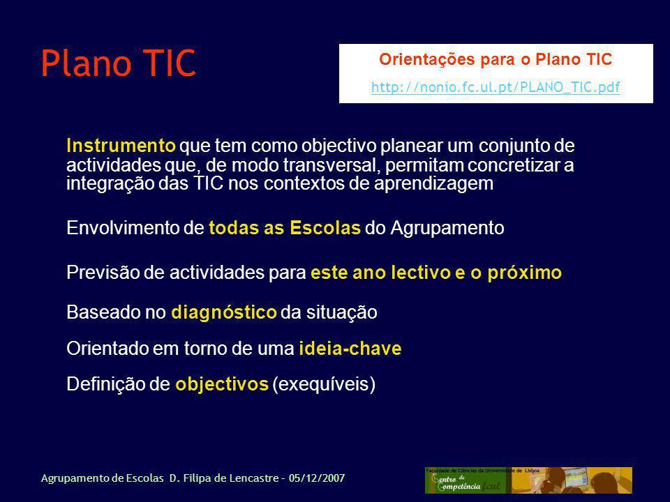 Orientações para o Plano TIC