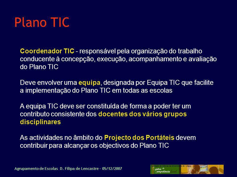 Plano TIC Coordenador TIC - responsável pela organização do trabalho conducente à concepção, execução, acompanhamento e avaliação do Plano TIC.