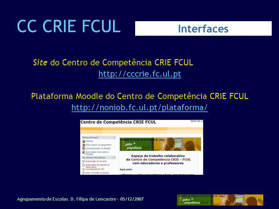 Plataforma Moodle do Centro de Competência CRIE FCUL