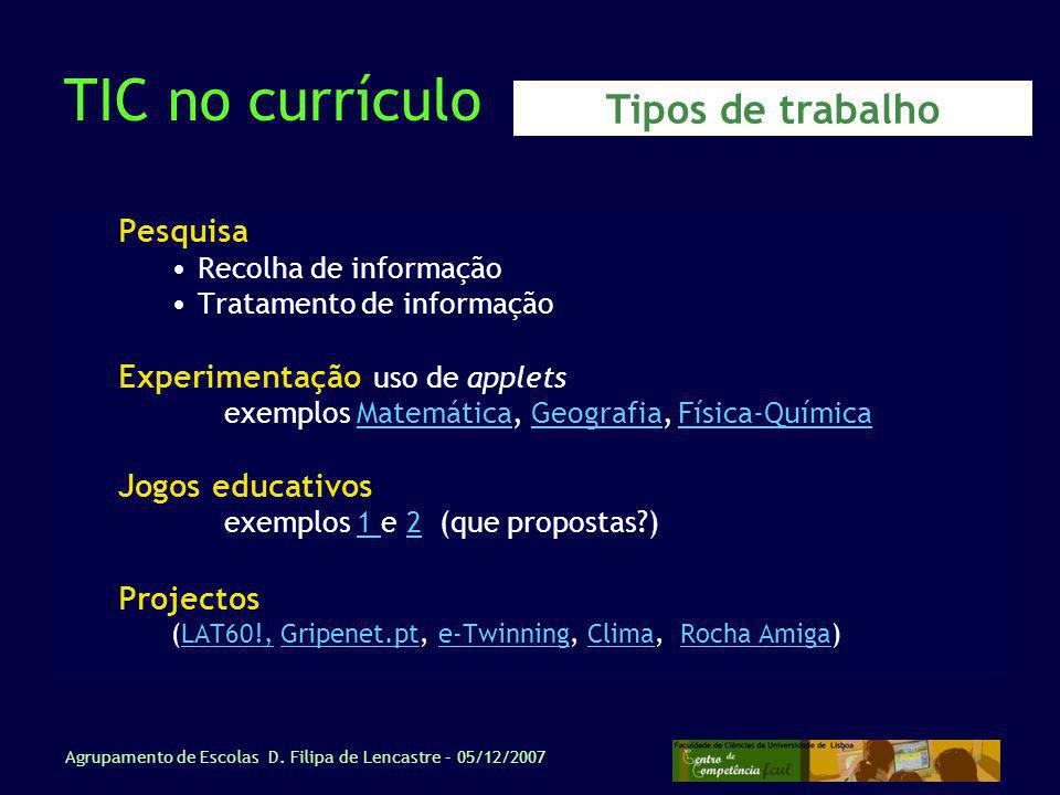 TIC no currículo Tipos de trabalho Pesquisa