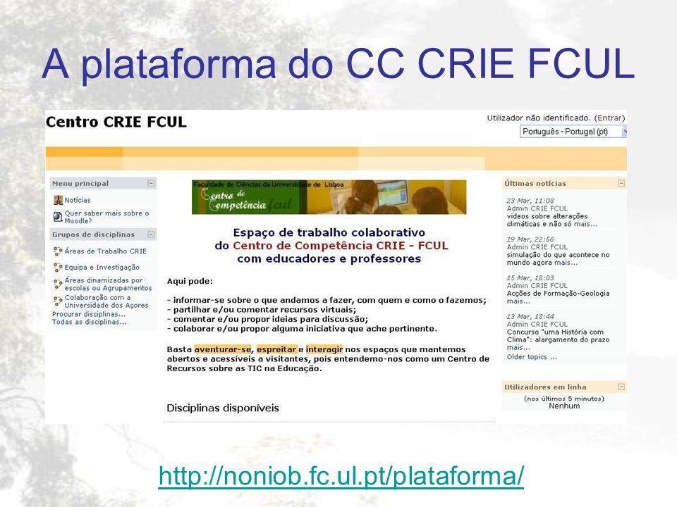 A plataforma do CC CRIE FCUL