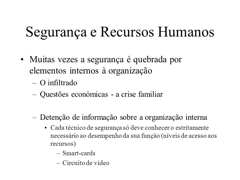 Segurança e Recursos Humanos