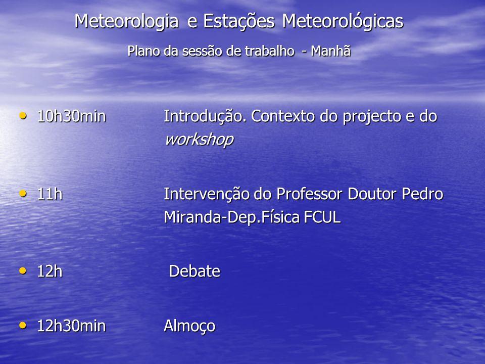 Meteorologia e Estações Meteorológicas Plano da sessão de trabalho - Manhã
