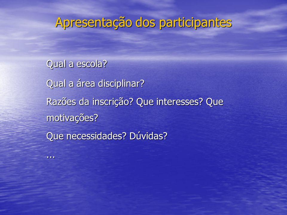 Apresentação dos participantes