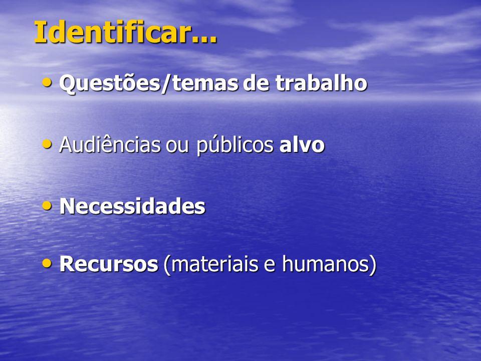Identificar... Questões/temas de trabalho Audiências ou públicos alvo