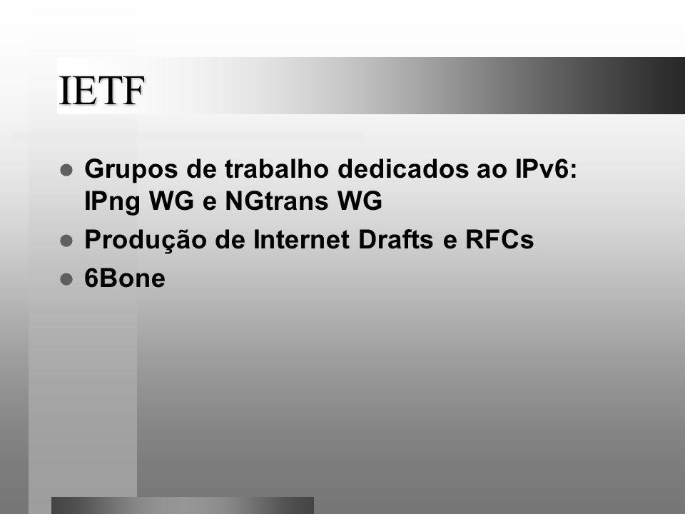 IETF Grupos de trabalho dedicados ao IPv6: IPng WG e NGtrans WG