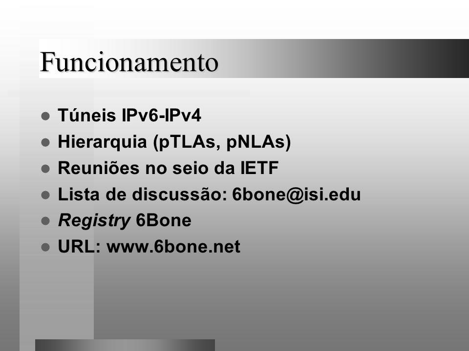 Funcionamento Túneis IPv6-IPv4 Hierarquia (pTLAs, pNLAs)