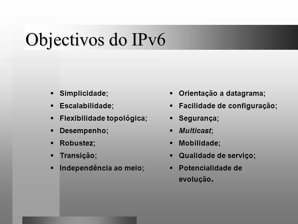 Objectivos do IPv6 Simplicidade; Escalabilidade;