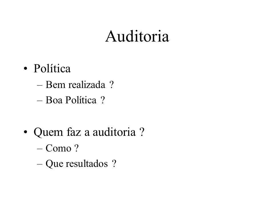 Auditoria Política Quem faz a auditoria Bem realizada