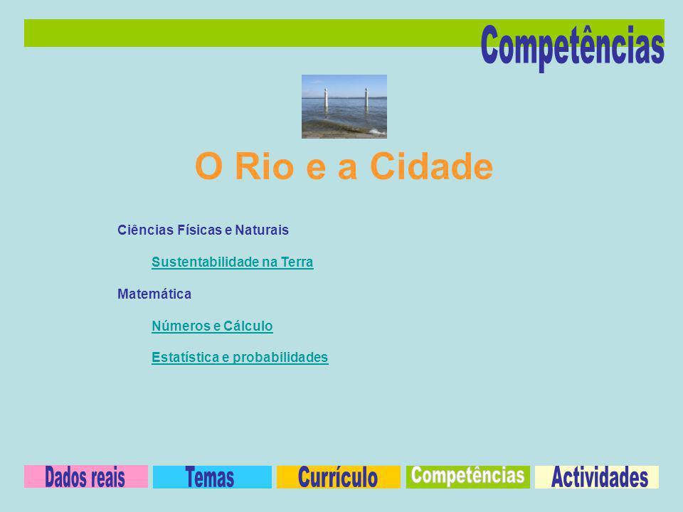 O Rio e a Cidade Competências Dados reais Temas Currículo Competências