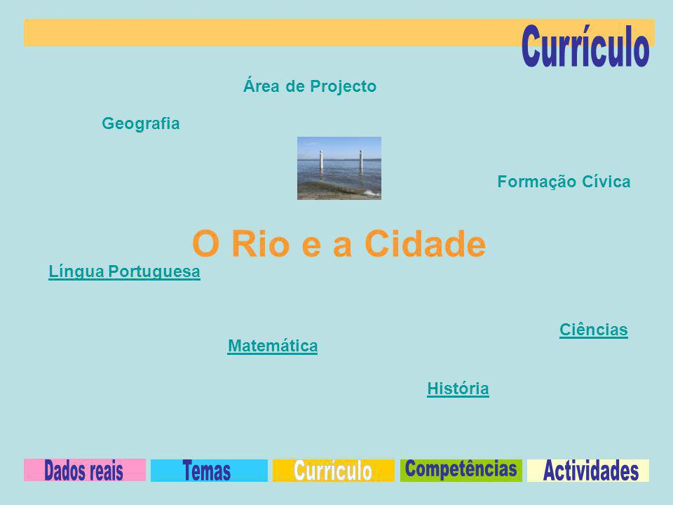 O Rio e a Cidade Currículo Dados reais Temas Currículo Competências