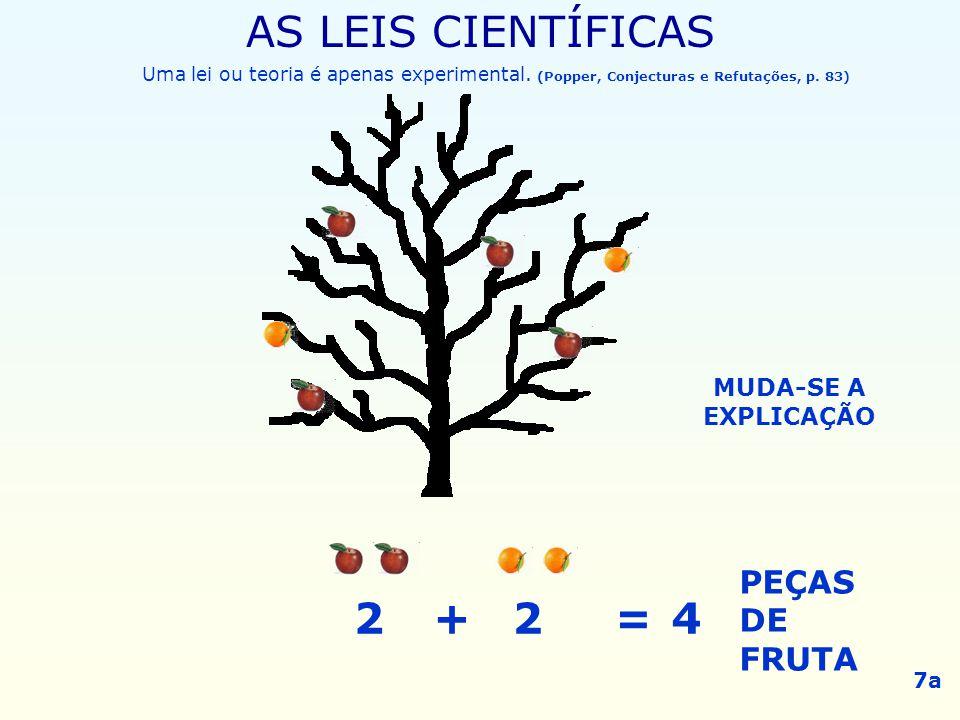 AS LEIS CIENTÍFICAS 2 + 2 = 4 PEÇAS DE FRUTA MUDA-SE A EXPLICAÇÃO 7a