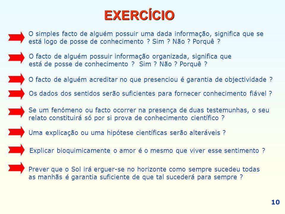 EXERCÍCIO O simples facto de alguém possuir uma dada informação, significa que se. está logo de posse de conhecimento Sim Não Porquê