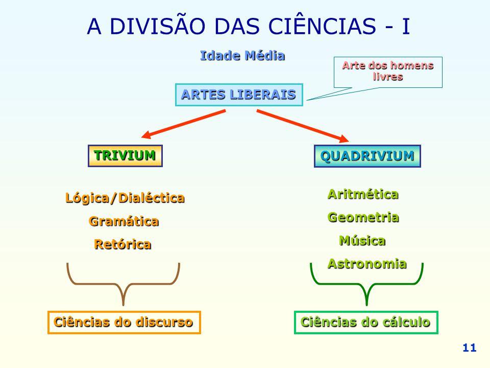 A DIVISÃO DAS CIÊNCIAS - I